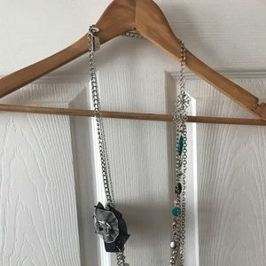 Beautiful Long Statement Necklace W/ Floral Detail